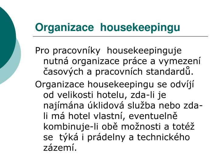 Organizace  housekeepingu