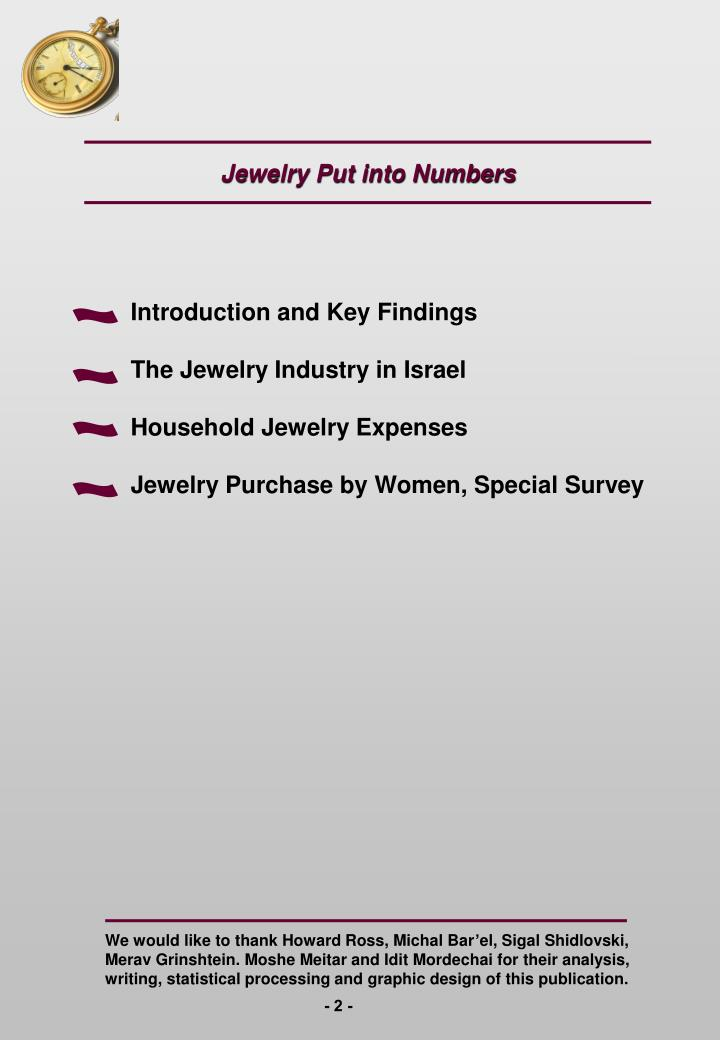 Jewelry Put into Numbers