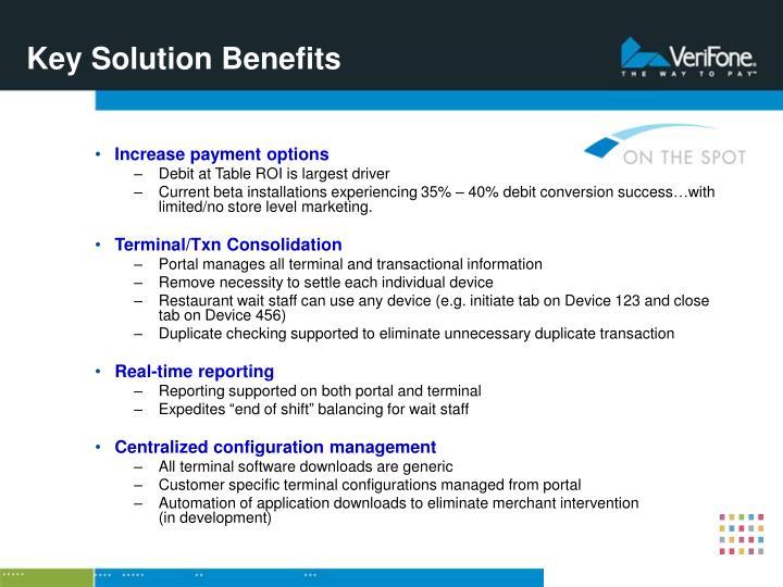 Key Solution Benefits