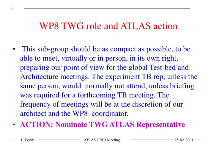 WP8 TWG role and ATLAS action