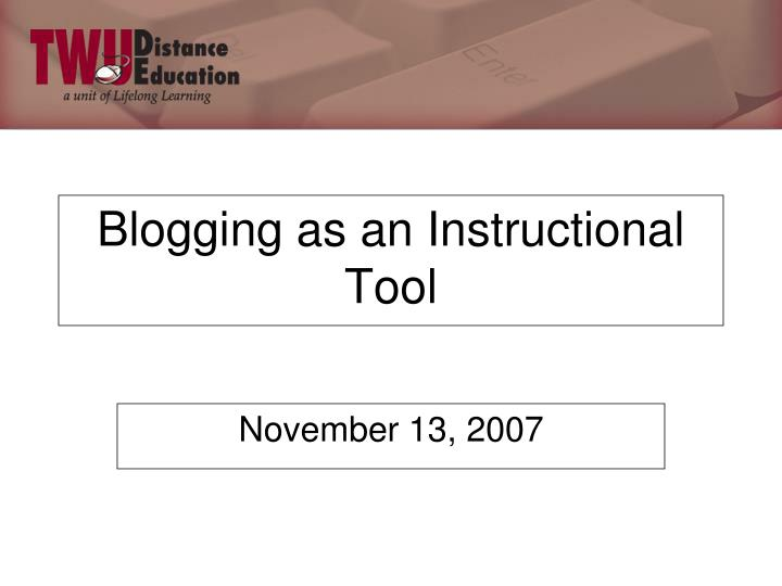 blogging as an instructional tool n.