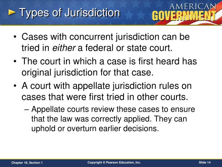 Types of Jurisdiction
