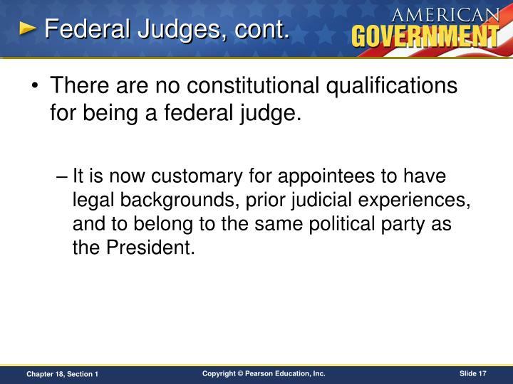 Federal Judges, cont.