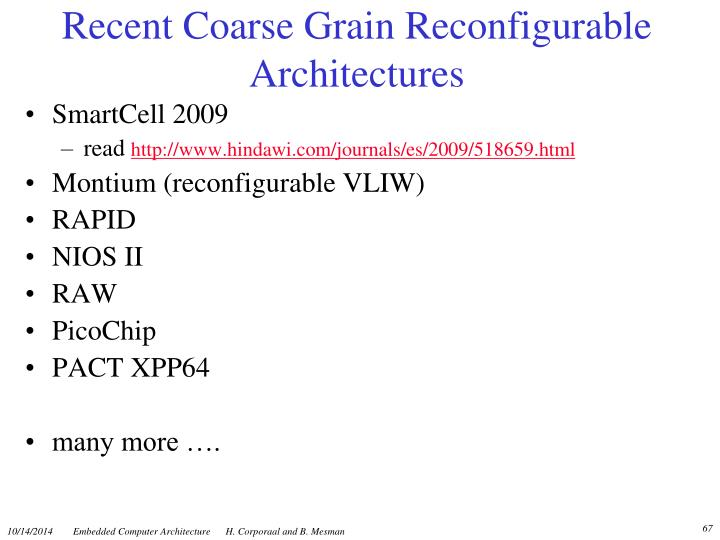 Recent Coarse Grain Reconfigurable Architectures