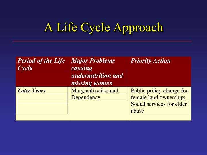 A Life Cycle Approach