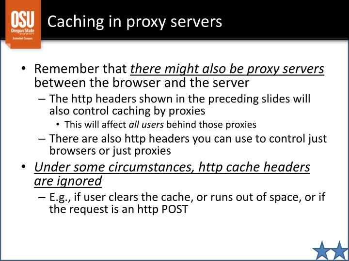 Caching in proxy servers