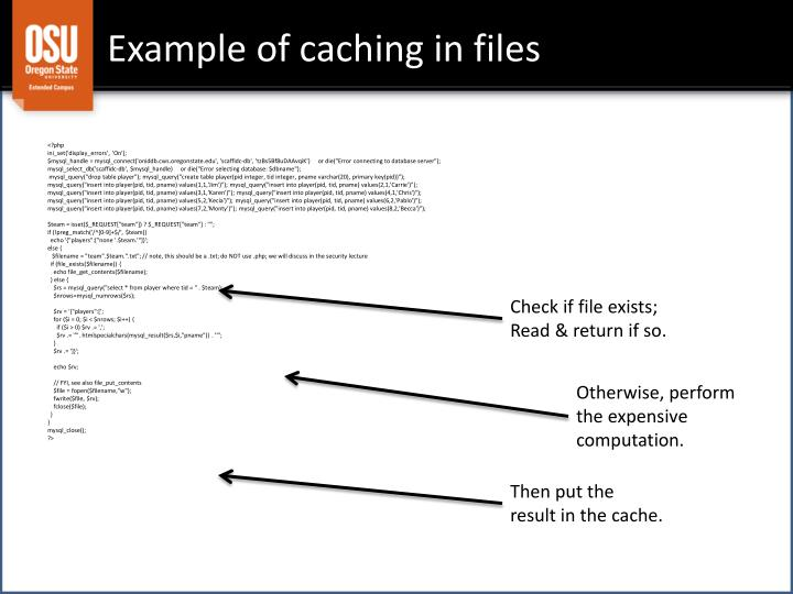Example of caching in files