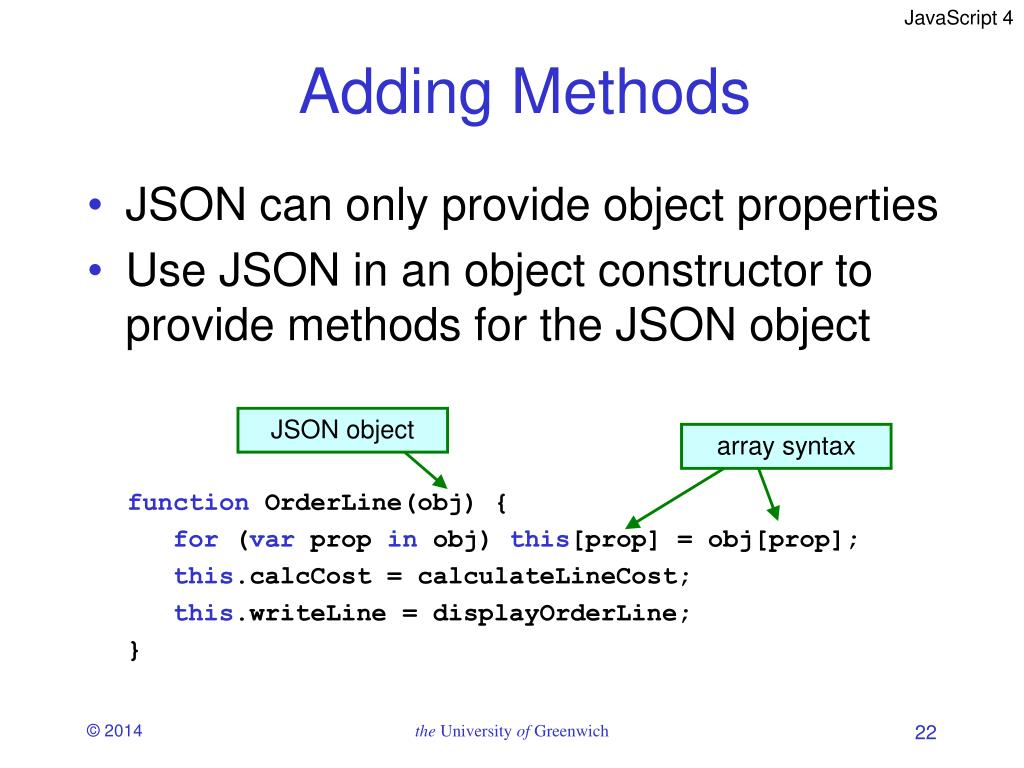 PPT - JavaScript 4 Objects and JSON PowerPoint Presentation
