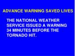 the national weather service issued a warning 34 minutes before the tornado hit