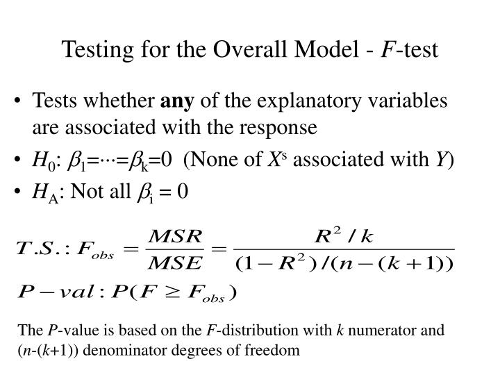 Testing for the Overall Model -