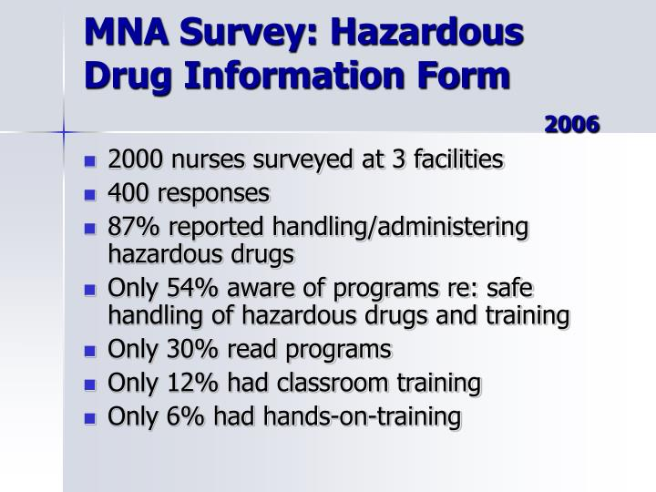 MNA Survey: Hazardous Drug Information Form
