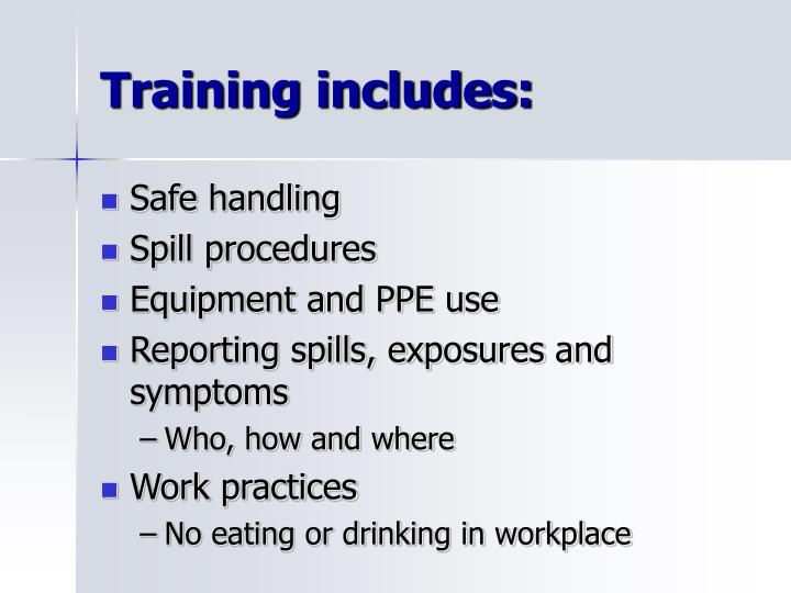 Training includes: