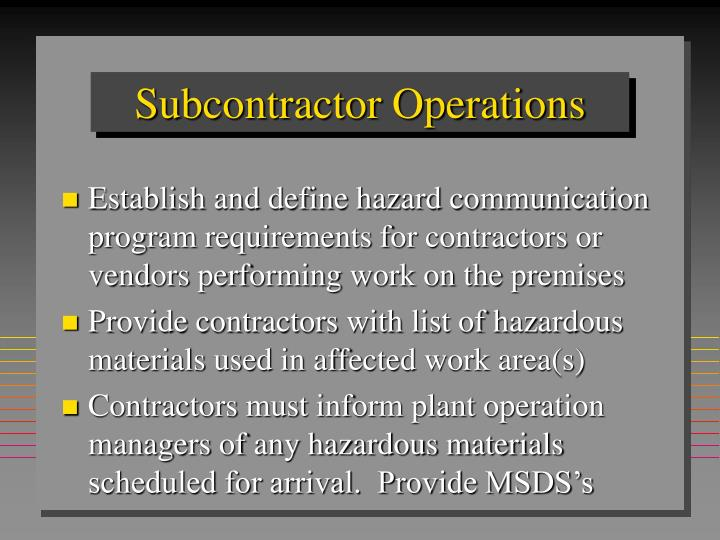 Subcontractor Operations