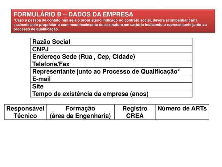 FORMULÁRIO B – DADOS DA EMPRESA