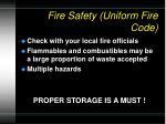 fire safety uniform fire code