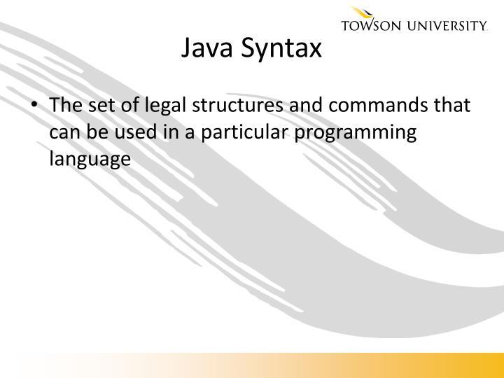 Java Syntax