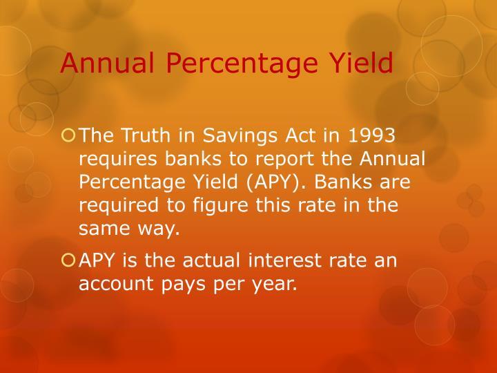 Annual Percentage Yield