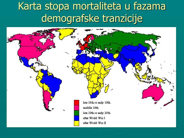 Karta stopa mortaliteta u fazama demografske tranzicije