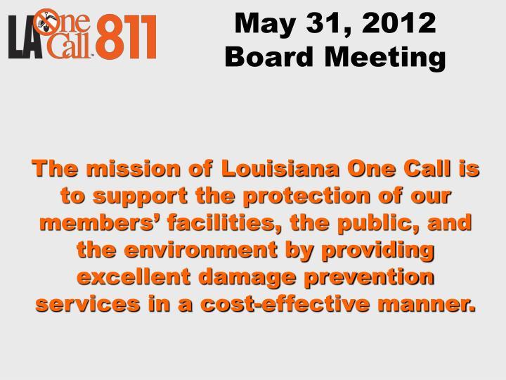 May 31 2012 board meeting