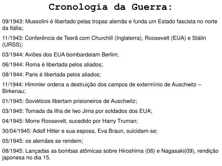 Cronologia da Guerra:
