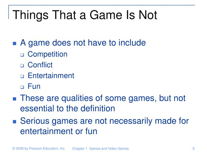 Things That a Game Is Not