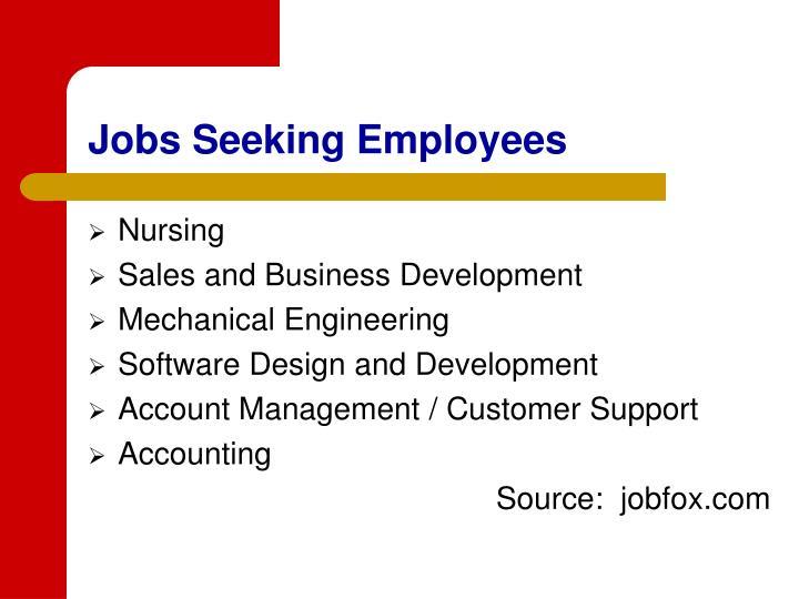 Jobs Seeking Employees