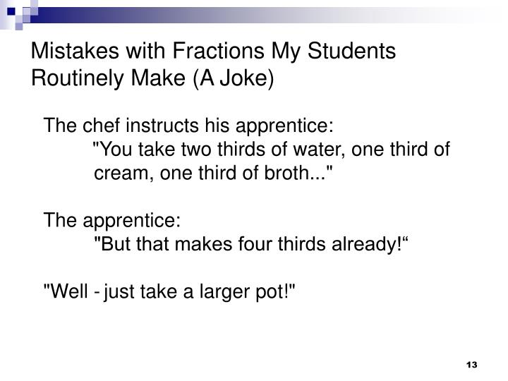 Mistakes with Fractions My Students