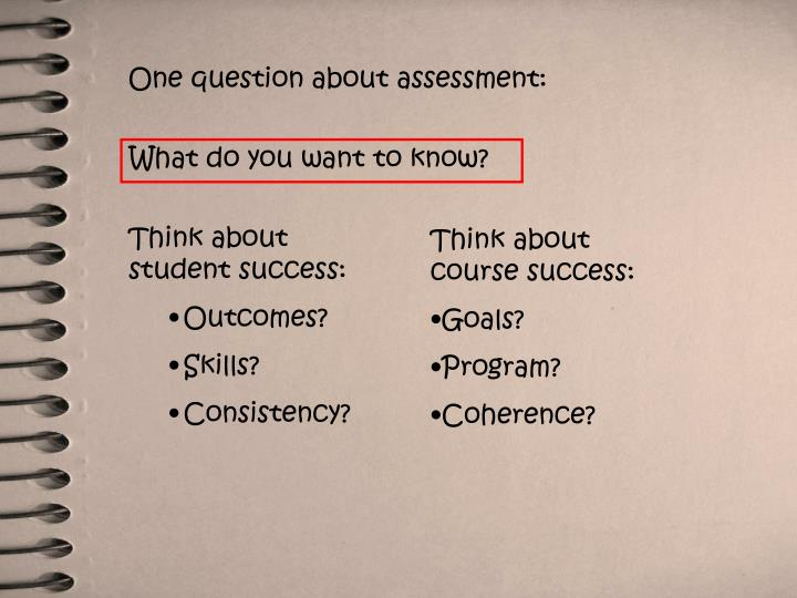 One question about assessment: