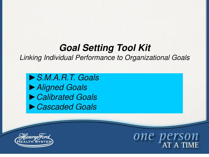 organizational goal setting Group goal-setting is as important as individual goal-setting today, many organization members work in groups, teams, or committees having employees work as teams with a specific team goal, rather than as individuals.