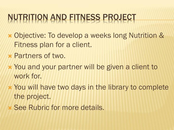 nutrition and fitness project n.