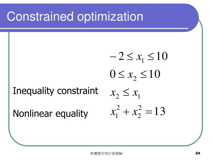 Constrained optimization