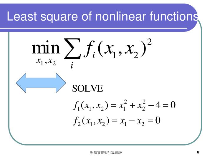Least square of nonlinear functions