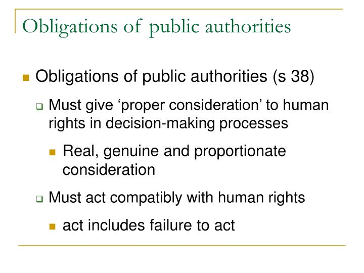 Obligations of public authorities