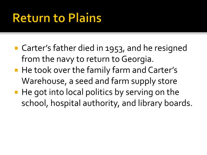 Return to Plains