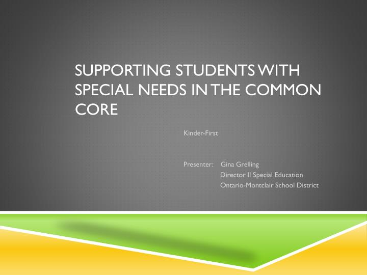 supporting students with special needs in the common core n.