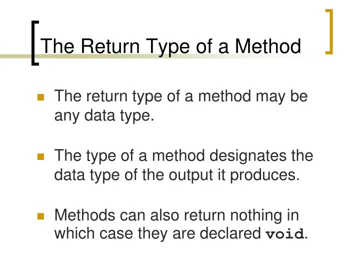 The Return Type of a Method