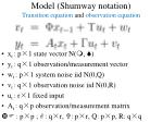 model shumway notation transition equation and observation equation