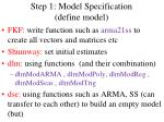step 1 model specification define model