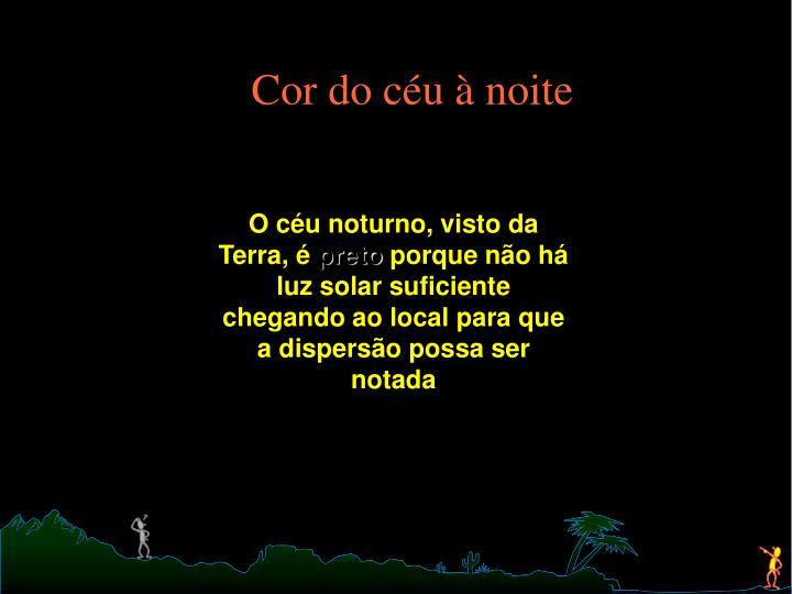 Cor do céu à noite