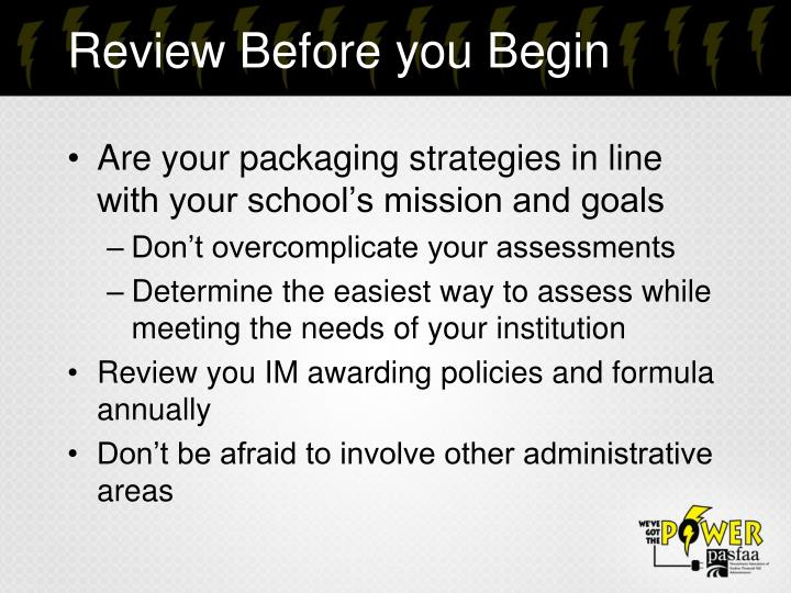 Review Before you Begin