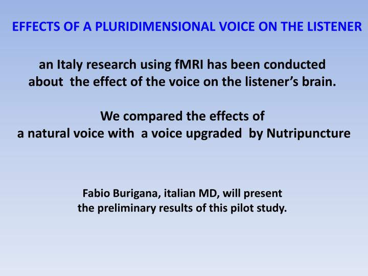 EFFECTS OF A PLURIDIMENSIONAL VOICE ON THE LISTENER