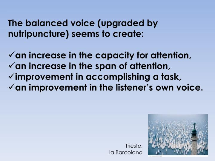 The balanced voice (upgraded by nutripuncture) seems to create: