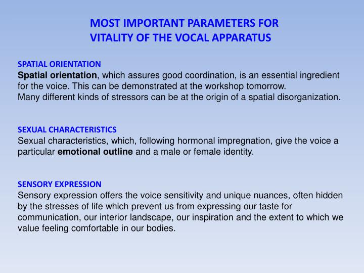 MOST IMPORTANT PARAMETERS FOR
