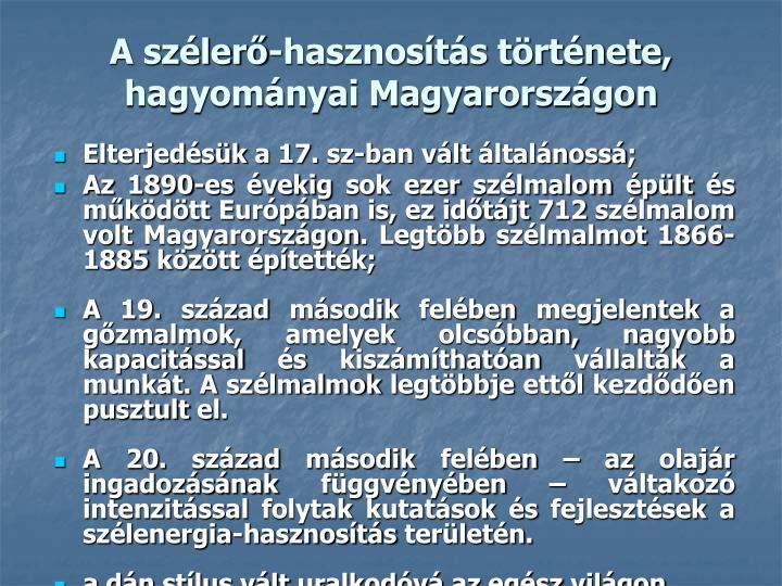 A szélerő-hasznosítás története, hagyományai Magyarországon
