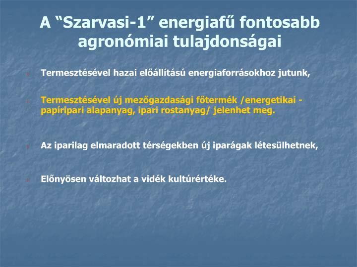 "A ""Szarvasi-1"" energiafű fontosabb agronómiai tulajdonságai"