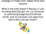 change in fixed cost sales price and volume