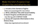 make the site s purpose clear explain you and what you do