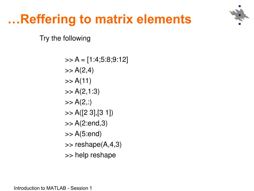 PPT - Introduction to MATLAB Session 1 PowerPoint