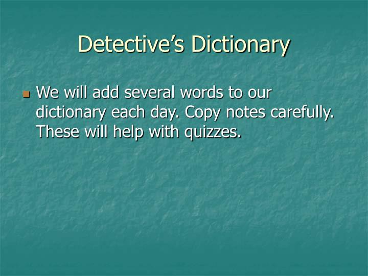 Detective's Dictionary