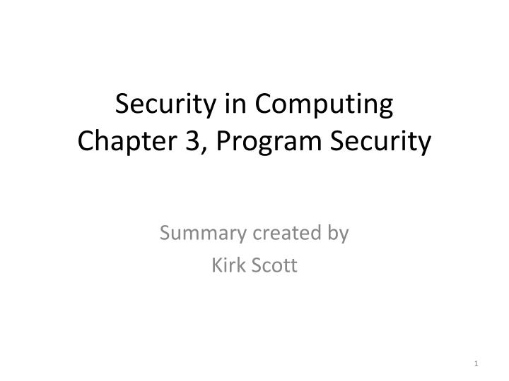 security in computing chapter 3 program security n.